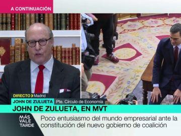 """John de Zuleta, presidente del Círculo de Empresarios: """"Hay problemas difíciles de tratar con un Gobierno con tanta coalición"""""""