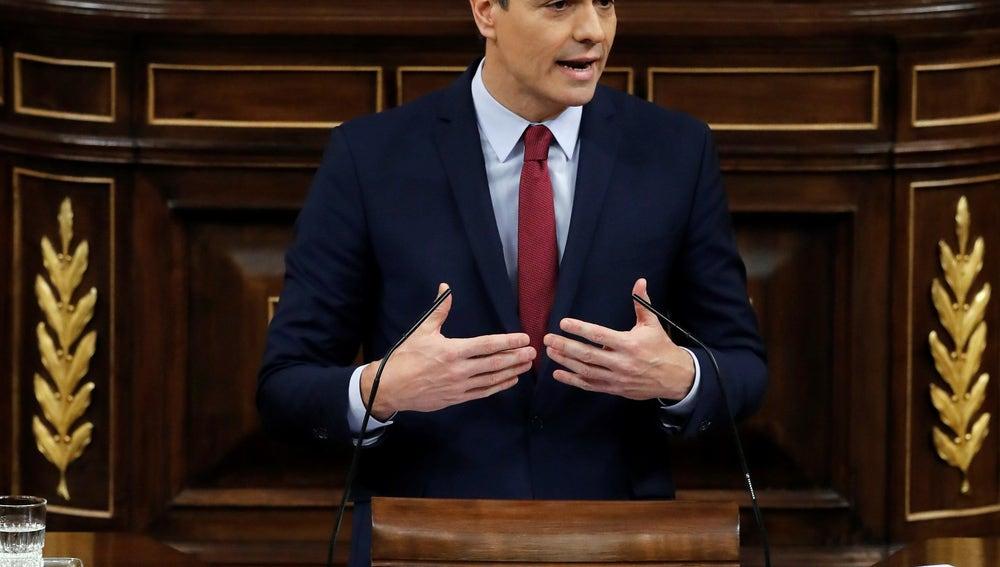Pedro Sánchez, en la sesión de investidura