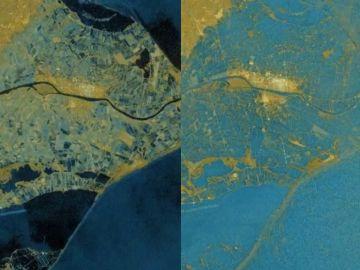 Imagen de satélite del antes y el después del Delta del Ebro