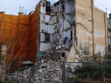 El edificio que se ha derrumbado en Alcoy, Alicante, debido a los efectos del temporal