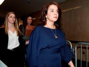 Annabella Sciorra, a la entrada del juzgado para declarar contra Harvey Weinstein