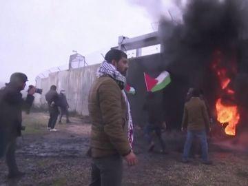 Imagen de las barricadas en una ciudad de Palestina.