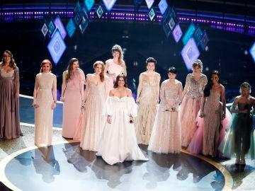 Un momento de la actuación de Gisela y el resto de las voces de 'Frozen 2'
