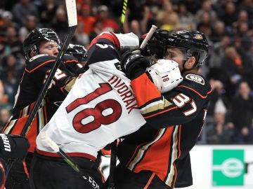 Pelea entre los jugadores en un partido de hockey