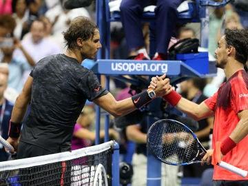 Rafa Nadal y Fabio Fognini en un partido de tenis