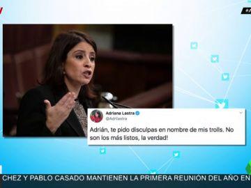 """Adriana Lastra se disculpa con el actor Adrián Lastra por el acoso de sus trolls: """"No son los más listos, la verdad"""""""