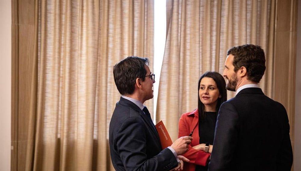 Pablo Casado, Inés Arrimadas y José María Espejo-Saavedra