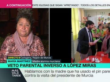 """Habla la madre que utilizó el veto parental para enfrentarse a López Miras: """"Le he dicho que no acepto compras ni enchufismos"""""""