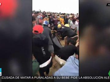 Un grupo de pescadores lucha contra la fuerte oleada para devolver una ballena de cuatro metros al mar