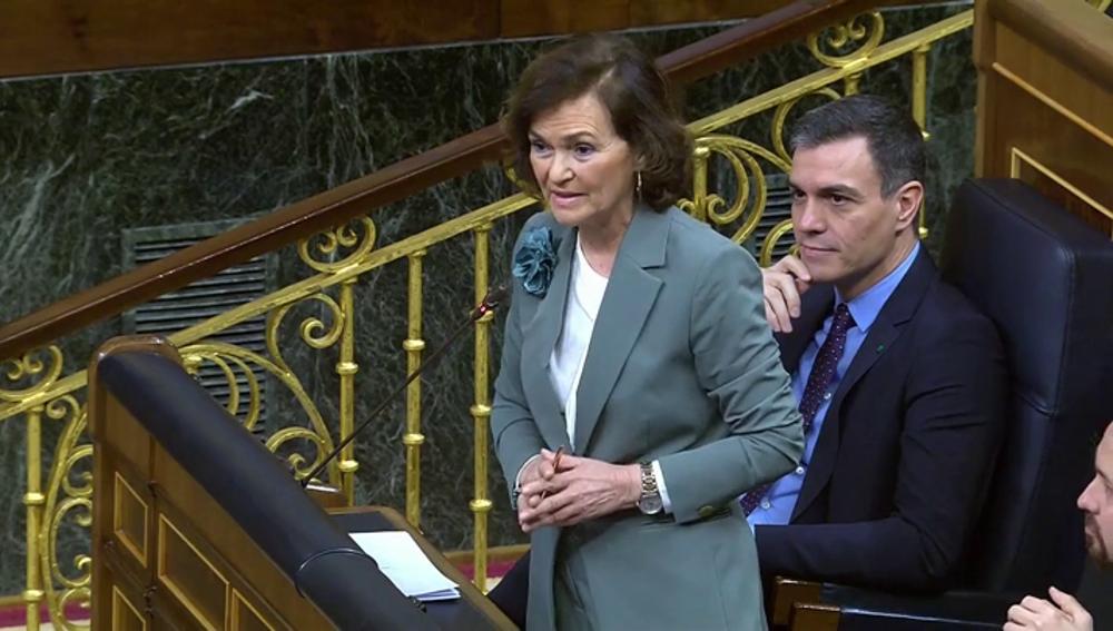 """Carmen Calvo responde a Ignacio Garriga (Vox): """"Usted no ha hecho una pregunta, quería una palanca para lanzar su mitin"""""""