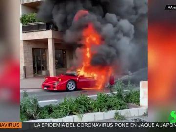 Estallan las redes sociales ante el vídeo de un Ferrari F40 ardiendo en las calles de Mónaco