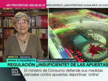 """Miren Etxezarreta pide """"contundencia"""" ante las casas de apuestas: """"No es solo publicidad, ofrecen dinero para que juegues"""""""