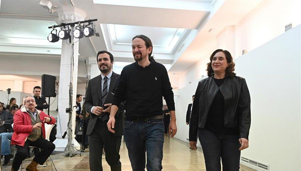 Alberto Garzón, Pablo Iglesias y Ada Colau