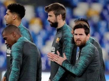 Gerard Piqué, en el entrenamiento del Barcelona en San Paolo
