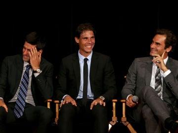 Nadal, Djokovic y Federer en una rueda de prensa