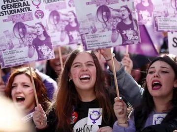 Estudiantes en la manifestación convocada por el Sindicato de Estudiantes en Madrid el pasado 8 de marzo con motivo de la huelga feminista