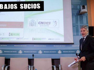 El Ministro Grande-Marlaska durante la presentación del informe de personas desaparecidas.