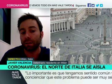 """Javier Valencia, español residente en Milán: """"Tenemos dos o tres semanas de ventaja respecto a Italia, utilicémoslas"""""""