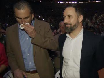 Javier Ortega Smith junto a Santiago Abascal en el acto de Vistalegre
