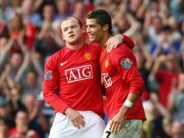 Wayne Rooney y Cristiano Ronaldo