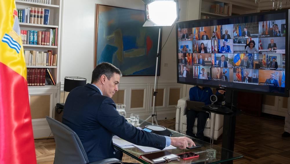 Pedro Sánchez, durante la videoconferencia con los presidentes autonómicos