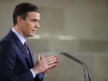 Pedro Sánchez, durante su comparecencia en la Moncloa