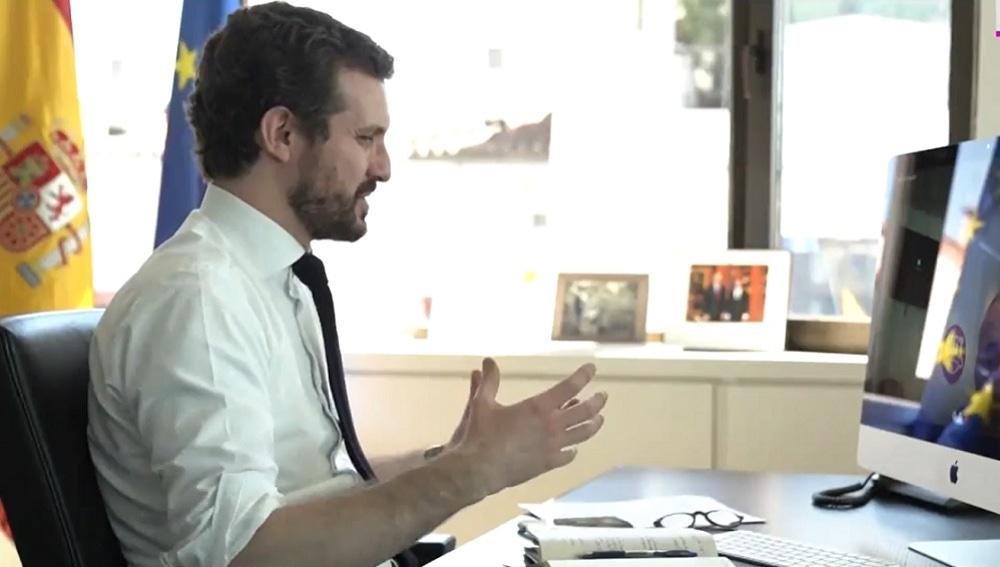 Pablo Casado en una reunión telemática