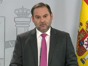 El ministro de Transportes, Movilidad y Agenda Urbana, José Luis Ábalos, durante la rueda de prensa