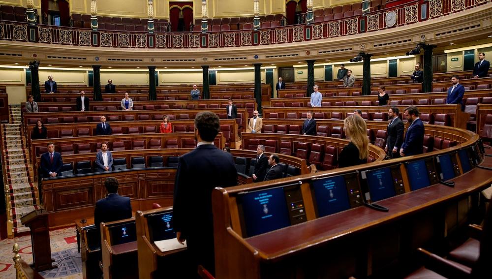 Vista general del hemiciclo, durante un minuto de silencio por las víctimas del coronavirus antes del inicio del pleno del Congreso