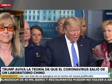 El 'dardo' de María Estévez a Donald Trump tras avivar la teoría sobre que el coronavirus salió de un laboratorio chino