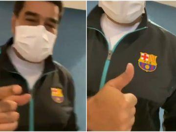 Nicolás Maduro, con el chándal del Barça