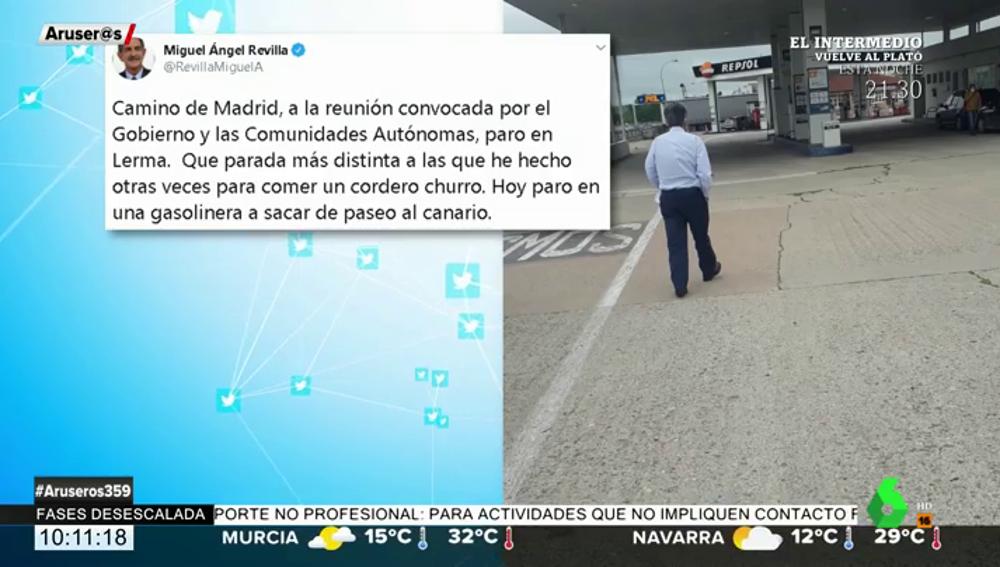 """Miguel Ángel Revilla revoluciona las redes con sus paradas para """"sacar de paseo al canario"""" en su viaje a Madrid"""