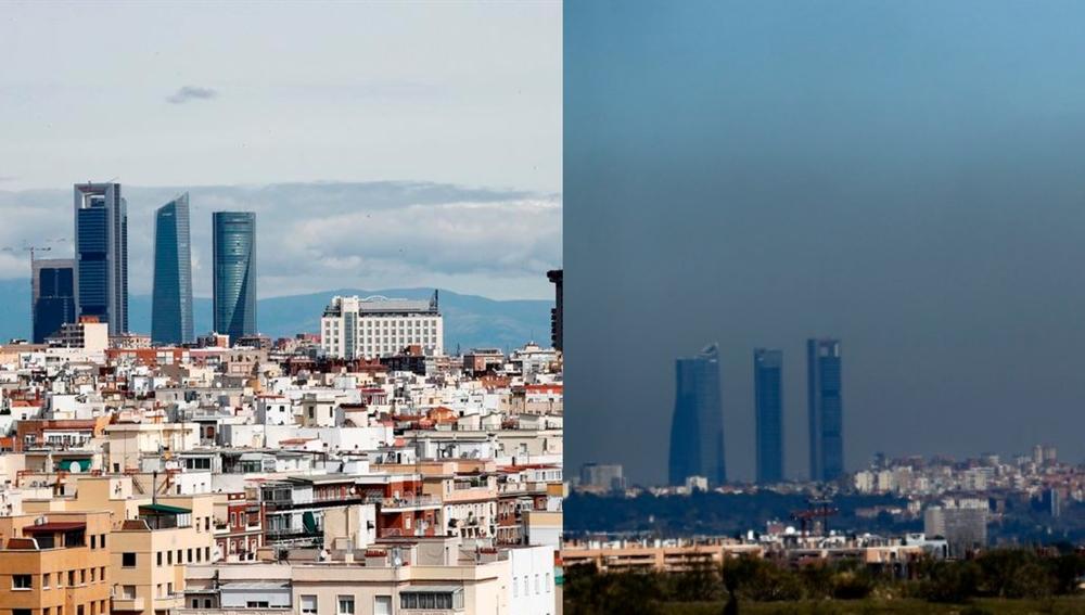El cielo de Madrid limpio durante el confinamiento