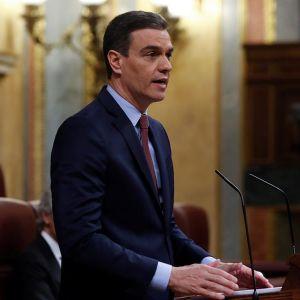 El presidente del Gobierno, Pedro Sánchez,en su comparecencia en el Congreso de los Diputados.