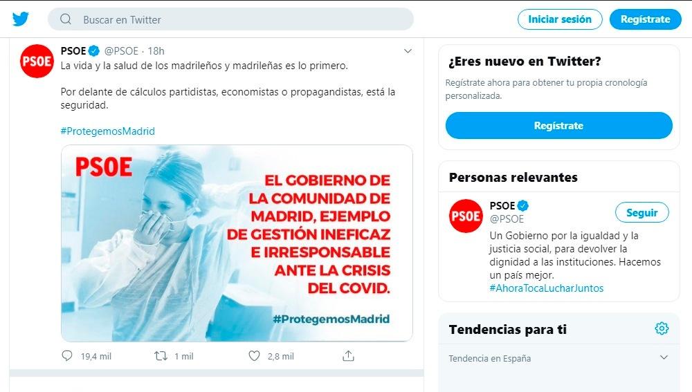 Tuit del PSOE