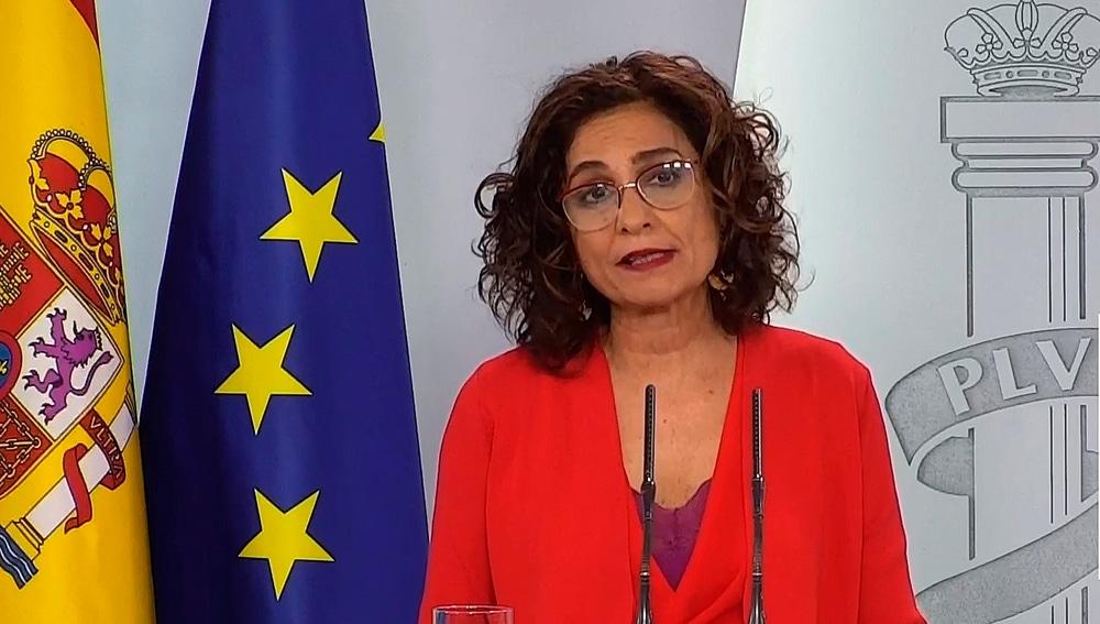 María Jesús Montero, durante su comparecencia en Moncloa