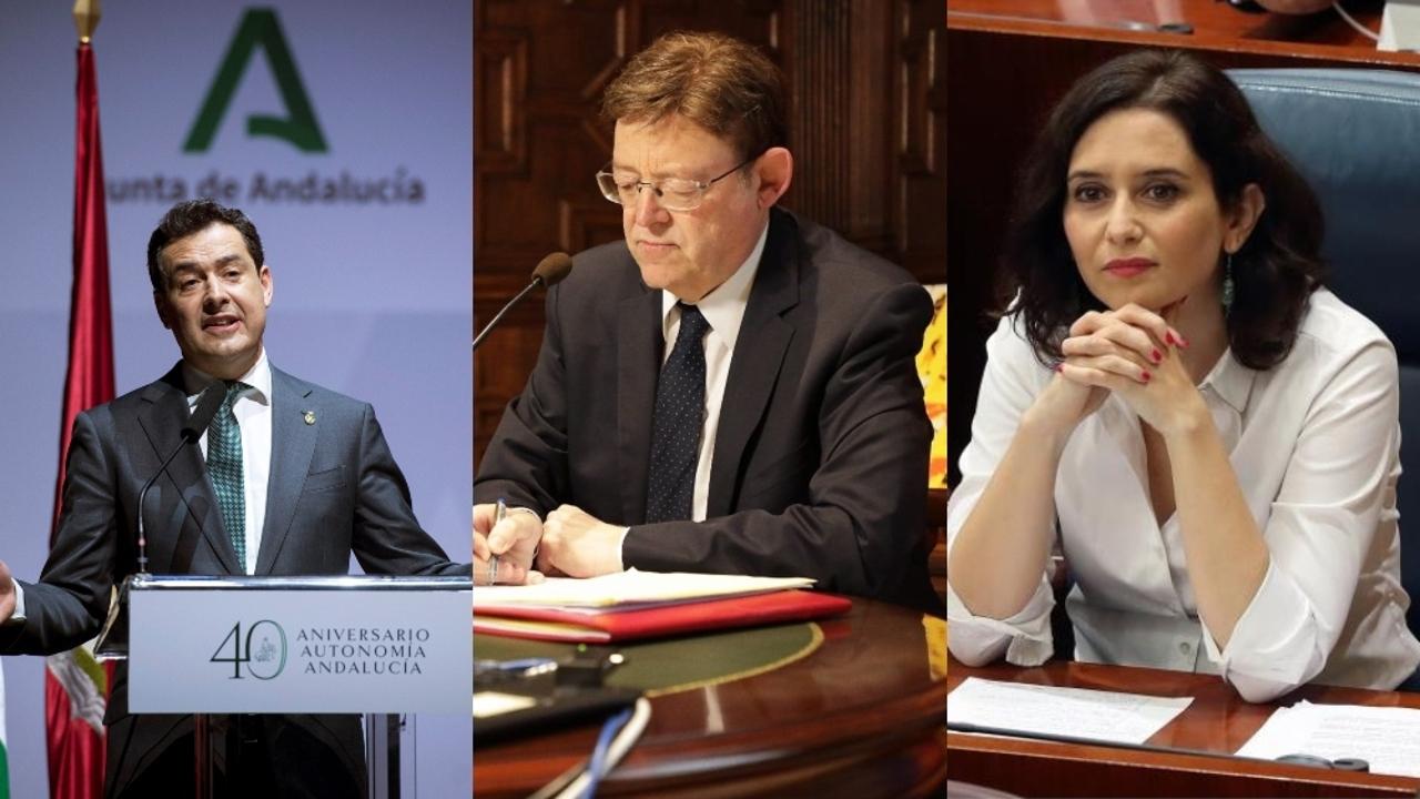 Juanma Moreno, Ximo Puig e Isabel Díaz Ayuso en imágenes de archivo