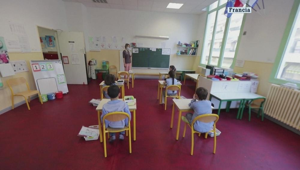 Un aula de Francia tras la vuelta al cole