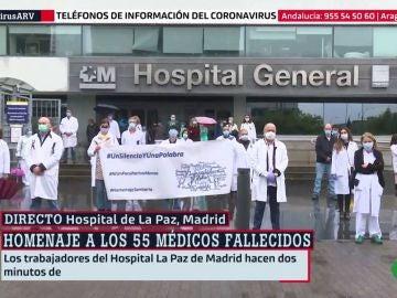 Dos minutos de silencio por los sanitarios fallecidos en el Hospital La Paz