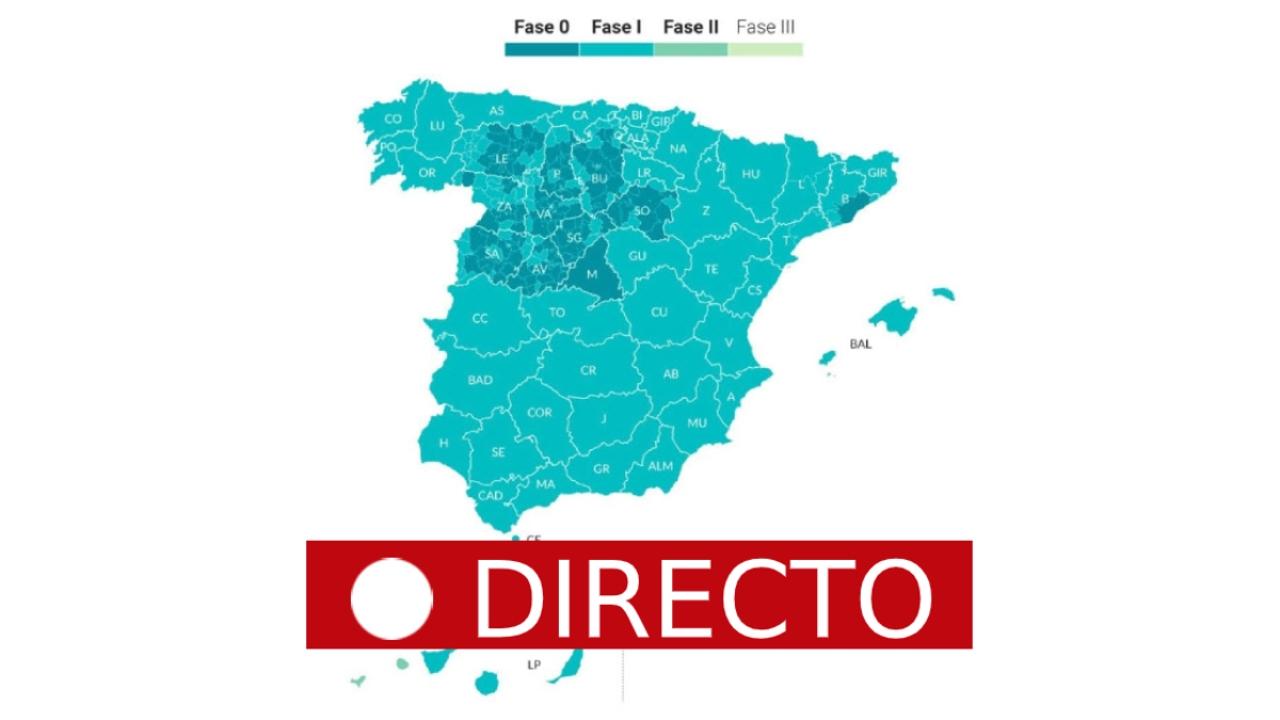 Fase 1 del coronavirus en España: Madrid, parte de Barcelona y Castilla y León en fase 0, en directo
