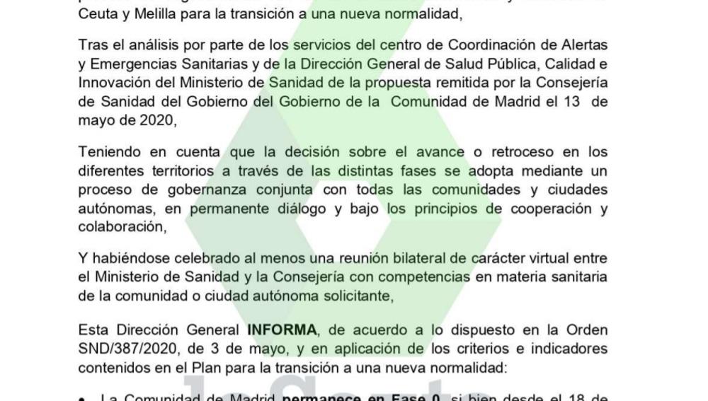 Informa de Sanidad sobre la Comunidad de Madrid
