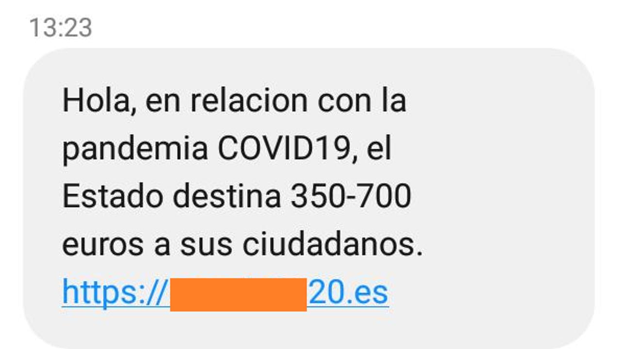SMS fraudulento que ha difundido la Guardia Civil