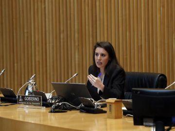 La ministra de Igualdad, Irene Montero, durante su comparecencia en la Comisión de Seguimiento y Evaluación de los del Pacto de Estado en Violencia de Género.