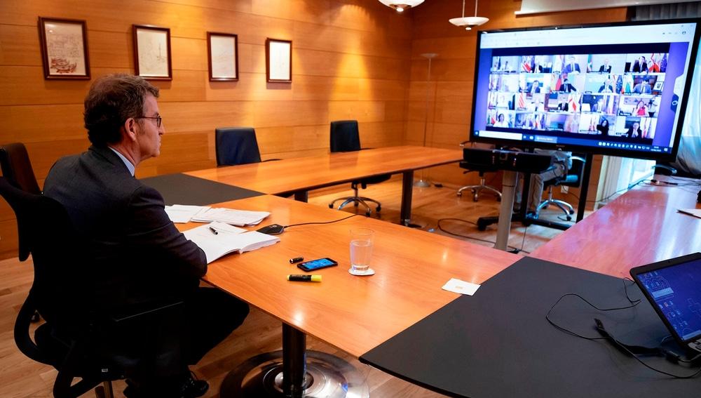Feijóo, durante la conferencia de presidentes con Sánchez