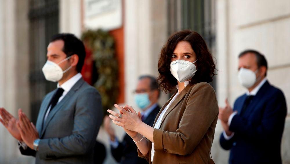 La presidenta de la Comunidad de Madrid, Isabel Díaz Ayuso, junto a Ignacio Aguado