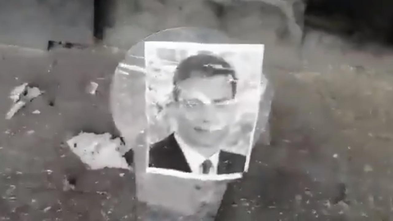 La imagen de Pedro Sánchez como diana en unas prácticas de tiro