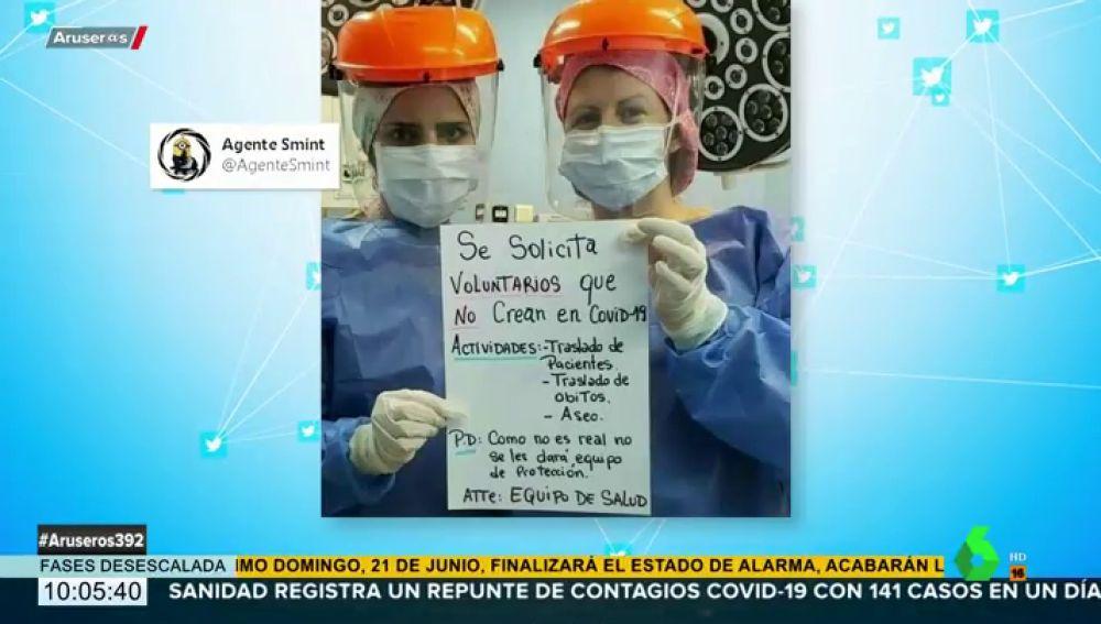 """Dos enfermeras buscan 'voluntarios' que """"no crean en el COVID-19"""""""