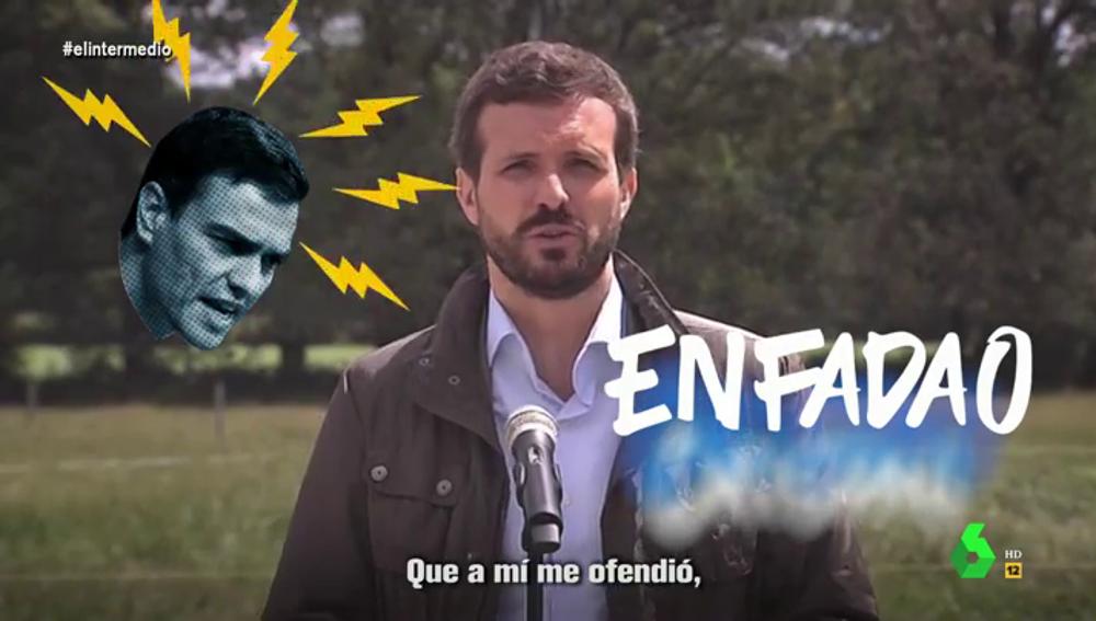 La indignación de Pablo Casado con Pedro Sánchez a ritmo de hit