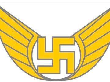 Imagen del emblema de las fuerzas aéreas de Finlandia, con una esvástica
