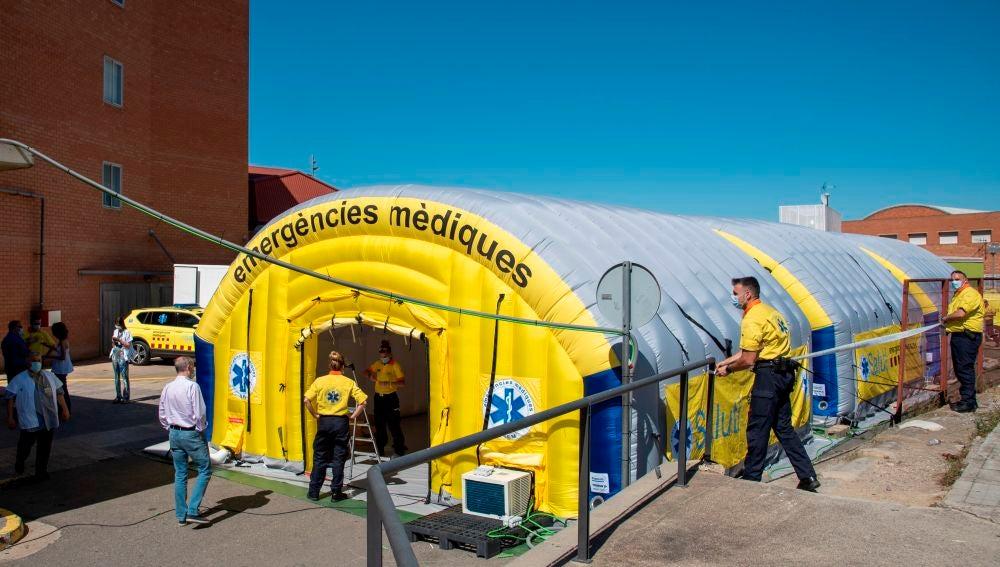 El Sistema de Emergencias Médicas (SEM) de la Generalitat instala un hospital de campaña en Lleida